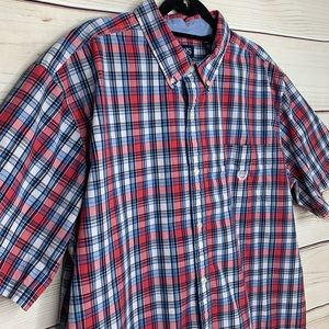 CHAPS Men's Red White and Blue Checkered Shirt 3XL